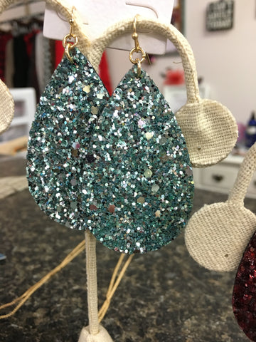 Glitter Leather Earrings in Ice Blue