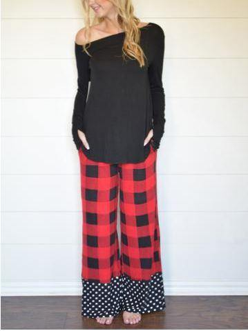 Buffalo Plaid and Polka Dot Lounge Pants