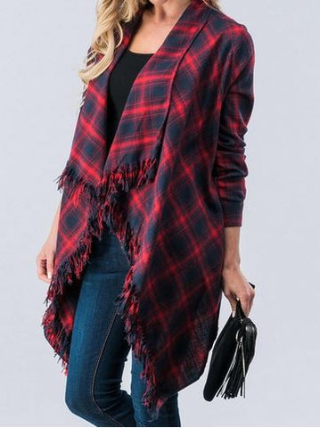 Perfect Plaid Cardigan with Fringe