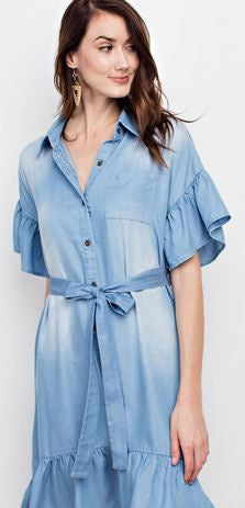 Classic Denim Button Down Ruffle Dress