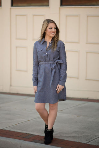 Coen Chambray Shirt Dress - Pretty Please on Broad