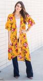Come Away with Me Floral Kimono_Mustard Yellow