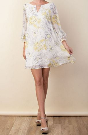 Springtime Floral Print Chiffon Shift Dress - Pretty Please on Broad