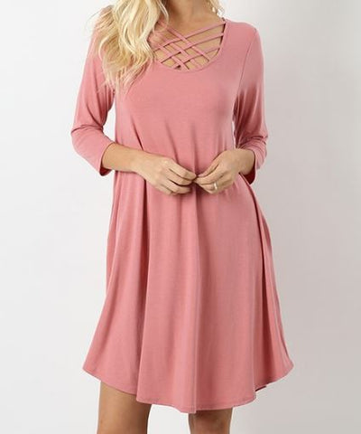 Feeling Strappy 3/4 Sleeve Tunic Dress - Pretty Please on Broad
