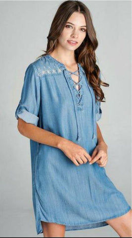 Bonnie Embroidered Denim Dress