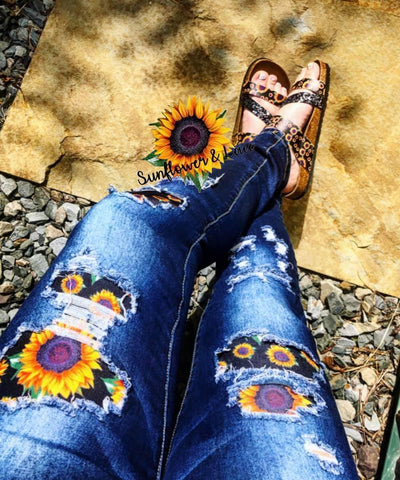Distressed Sunflower Skinny Jeans