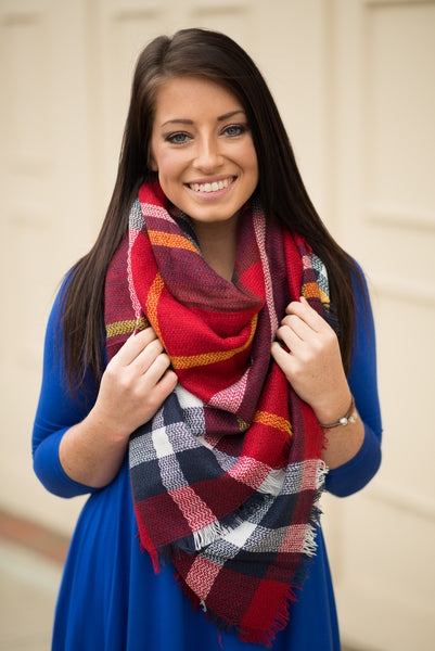 Multicolor Plaid Blanket Scarf - Pretty Please on Broad