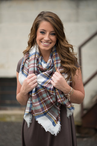 White Plaid Blanket Scarf - Pretty Please on Broad