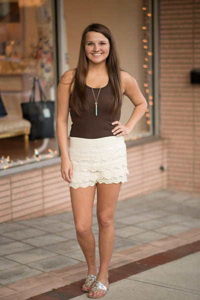 Ivory Lace Shorts - Pretty Please on Broad