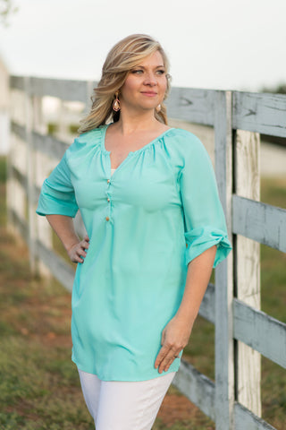 Reese Tunic - Aqua Blue - Pretty Please on Broad