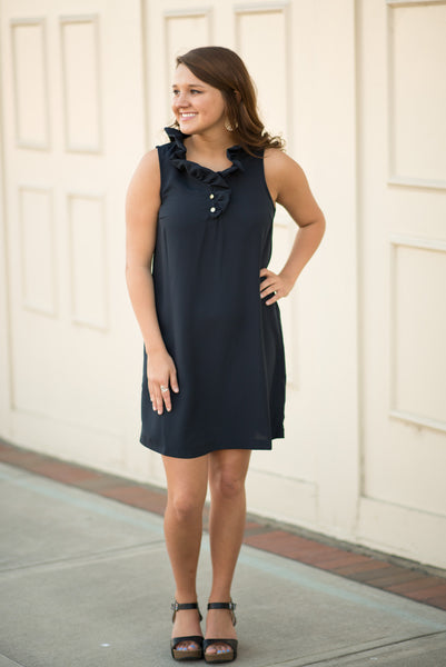 Whitney Ruffle Dress - Black - Pretty Please on Broad