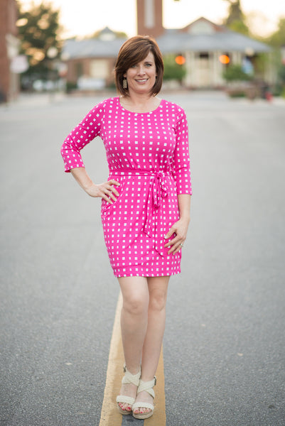 Courtney Essential Dress - Pink Squares - by-Simply-Southern-Pretty-Please-on-Broad-Boutique