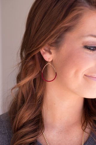 String Wrapped Wire Earrings - Burgundy - Pretty Please on Broad