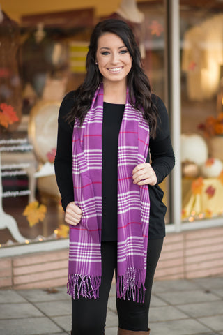 Purple Plaid Scarf - Pretty Please on Broad