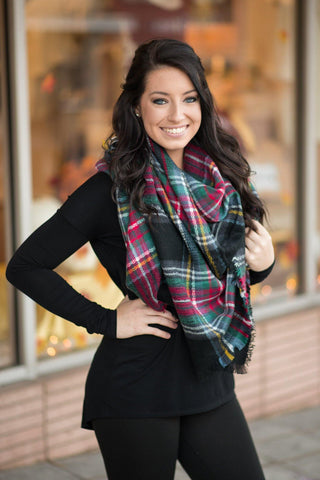 Christmas Plaid Blanket Scarf - Black - by-Simply-Southern-Pretty-Please-on-Broad-Boutique