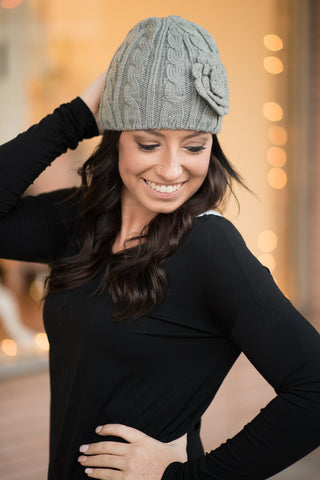 Knit Flower Beanie - Grey - Pretty Please on Broad