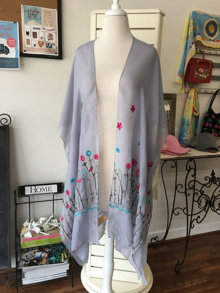 Nothing but Blue Skies Floral Embroidered Kimono Cardigan