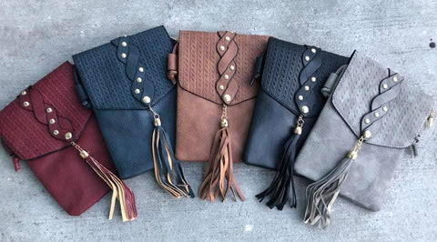 Fall Leather Tassel Crossbody Purse