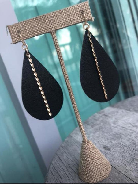 Faux Black Vegan Leather Earring with Gold Twist