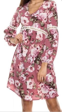 Its All in the Detail 3/4 Sleeve Floral Print Crochet Detail Dress - Pretty Please on Broad