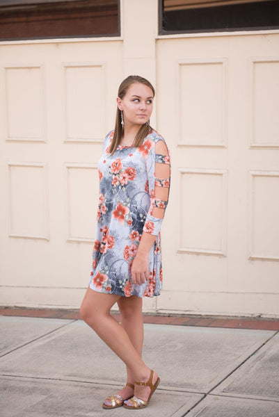 Floral Dress with Cutout Sleeves - Pretty Please on Broad