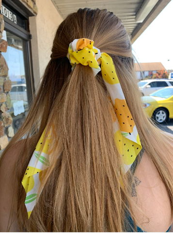 Long Ponytail Fruit Print Scrunchie