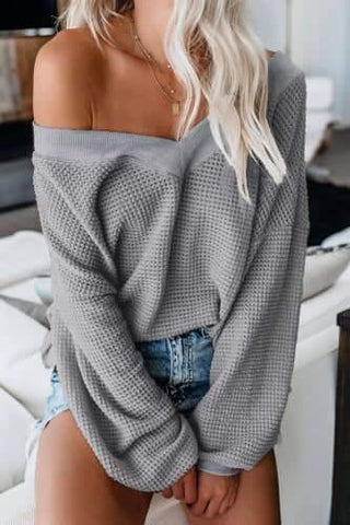 Drop-Shoulder Thermal Top in Gray