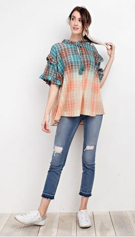 Distressed Plaid Ruffle Top