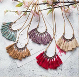 Fall Boho Leather Tassel Necklaces