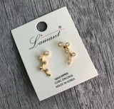 Gold Cubic Zirconia Ear Crawler Cuff Earrings