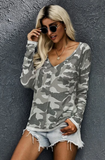 Green Camo Vneck Knit Top hot trend ladies women long sleeve army military wife college wiw wiwt_Pretty Please on Broad online boutique Altavista Lynchburg Forest VA NOLA
