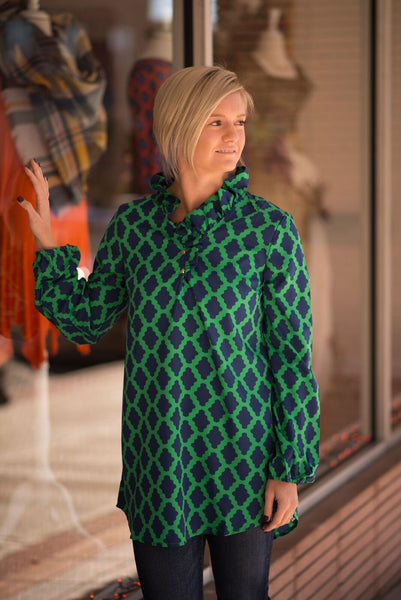 Whitney Ruffle Neck Tunic - Green/Navy Geometric Dot - Pretty Please on Broad