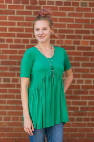 Be My Baby Doll V-Neck Top (Green)