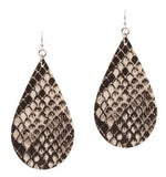Handmade Faux Leather Snakeskin Earrings