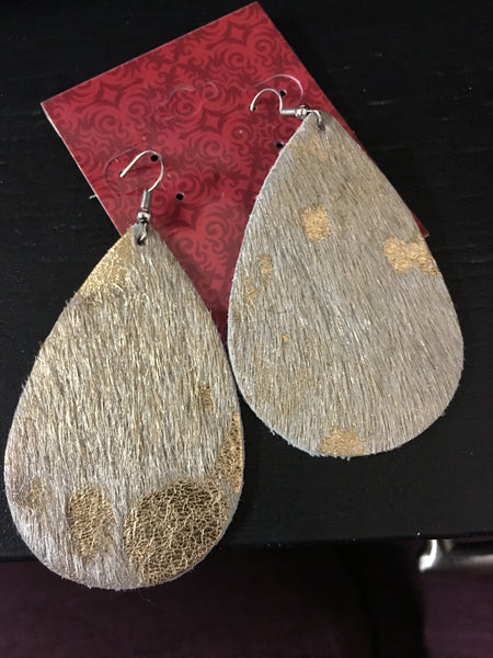 Handmade Leather Golden Beige Cowhide Earrings