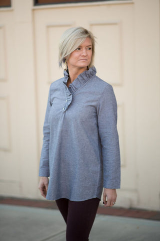 Ladies Women Wine Mudpie Whitney Ruffled neck Chambray Tunic - Pretty Please on Broad Boutique