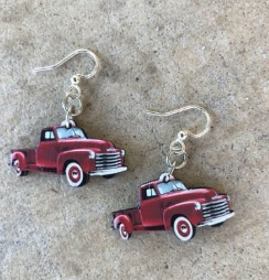 Classic Old Red Truck Earrings