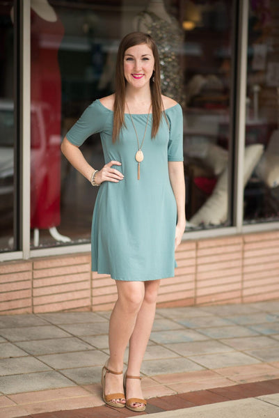 Seafoam Blue Off The Shoulder Dress - Pretty Please on Broad