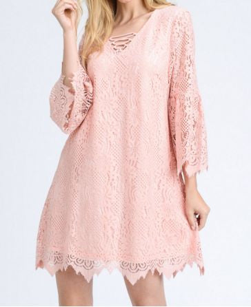 Be My Valentine Bell Sleeve Lace Dress - Pretty Please on Broad