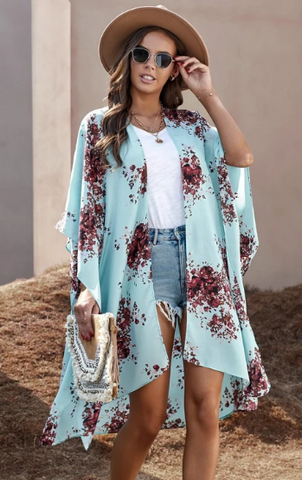 Ladies Girls Womens stunning Blakely Floral kimono cardigan wrap throw hot hot trending spring summer 2021 periwinkle cuteaf wiwt_Pretty Please on broad online boutique Altavista Forest Lynchburg VA NOLA