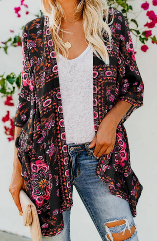 Ladies Girls Womens stunning Hadley Floral kimono cardigan wrap throw hot trending spring summer 2021 black_Pretty Please on broad online boutique Altavista Forest Lynchburg VA NOLA