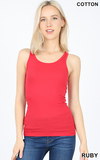 Red Essential Stretchy Ribbed Racerback Tank
