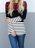 Nicolette Plaid Color Block Long Sleeve Top