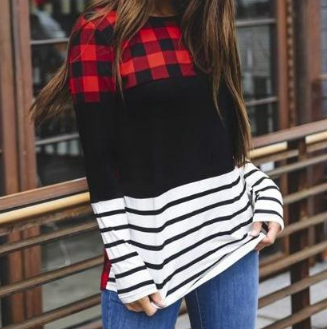 Nicolette Plaid Color Block Long Sleeve Top - Pretty Please on Broad