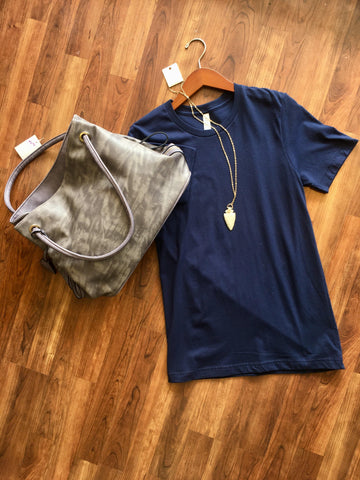 Navy Scoop Neck Tee