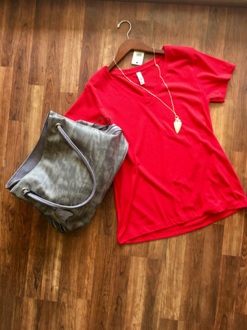 Red V-Neck Tee - Pretty Please on Broad