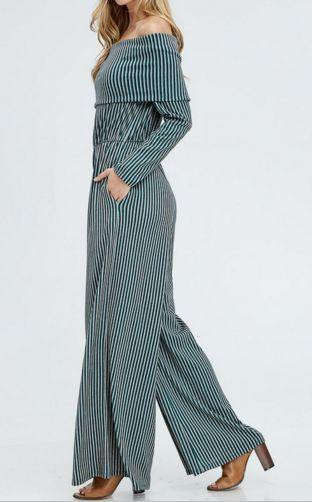 Teal Off The Shoulder Full Length Stripe Jumpsuit