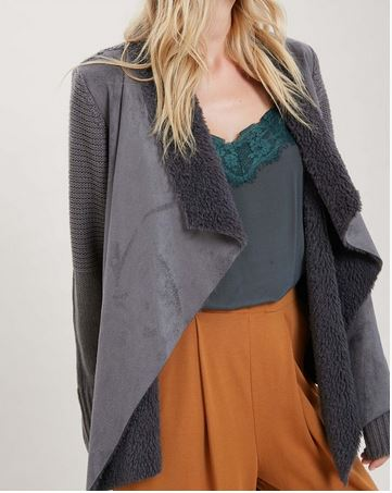 Charcoal Long Sleeve Draped Suede Front Open Cardigan