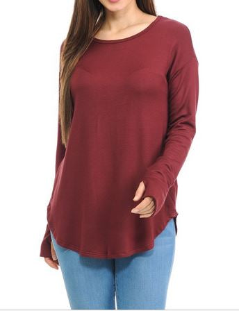 Solid Long Sleeve Thumbhole Top in Burgundy