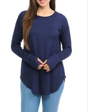 Solid Long Sleeve Thumbhole Top in Navy